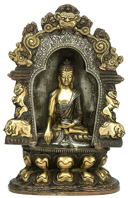 """Buddha Seated on Ornament Throne"" - Brass Statue"