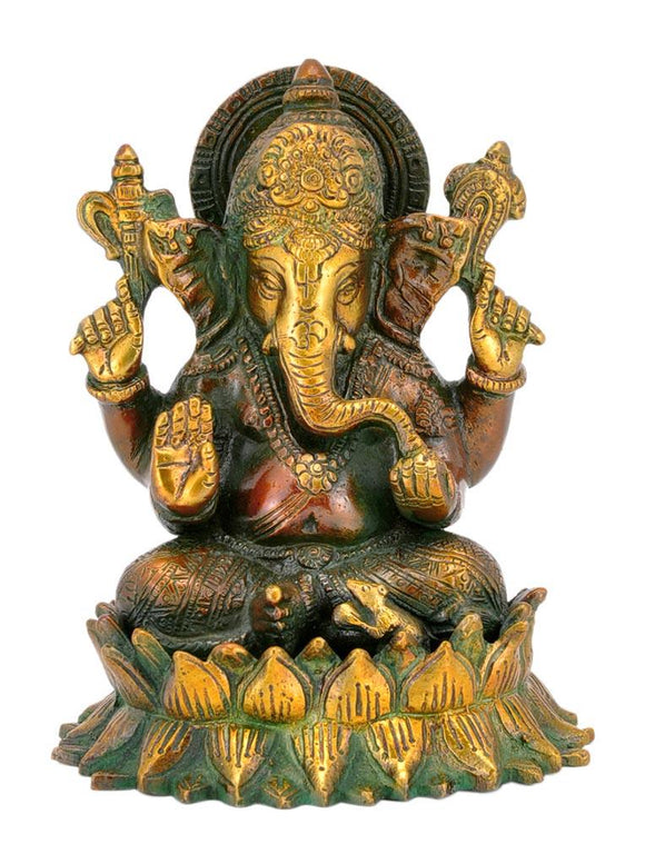 Lord Ganesha Seated on Lotus Base Brass Statue