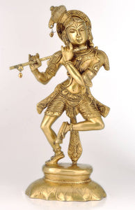 Brass Fluting & Dancing Gopal Sculpture 3169