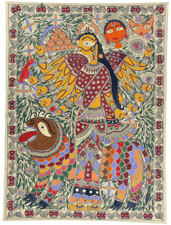 Ten Armed Devi Durga - Traditional Madhubani Painting Art