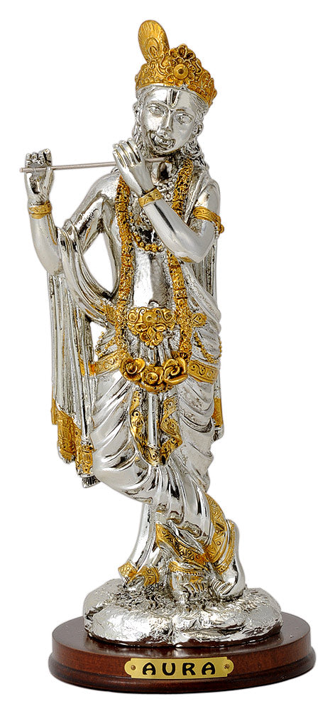 Lord Murlidhar Krishna Statue in Silver Golden Finish