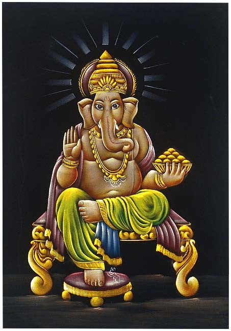 Ganesha Loves Modak - Velvet Painting