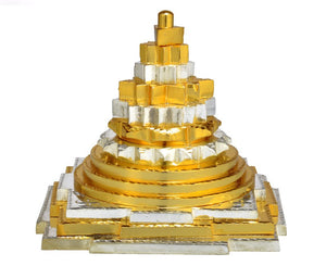 Auspicious Shree Yantra in Golden Silver Finish - Medium