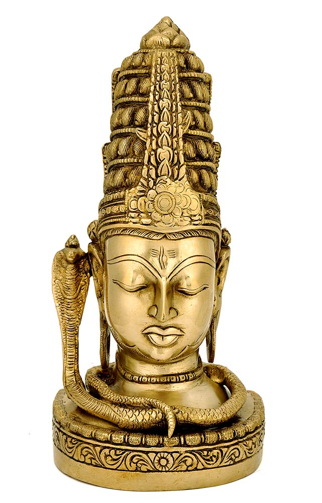 Beutifully Carved Shiva Head Sheshnag on Neck - Brass Sculpture