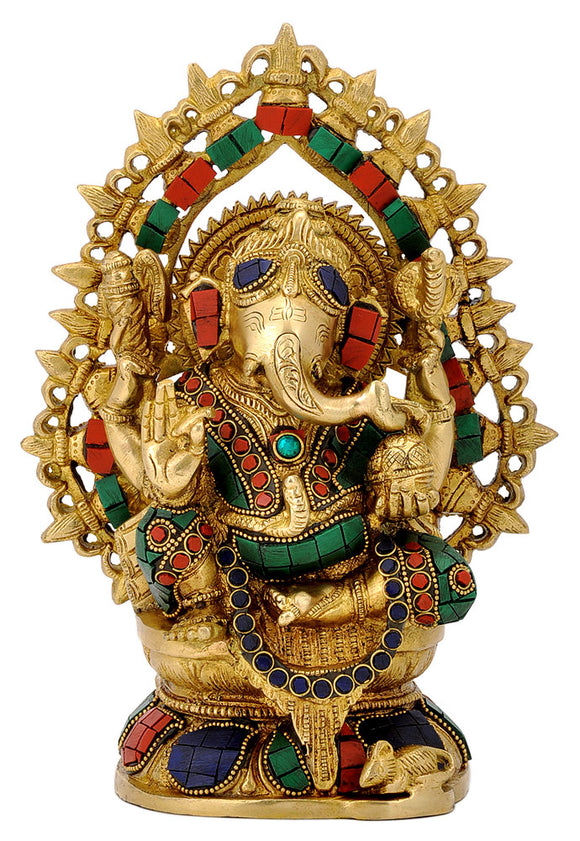 Brass Lord Ganesha Figurine with Stones