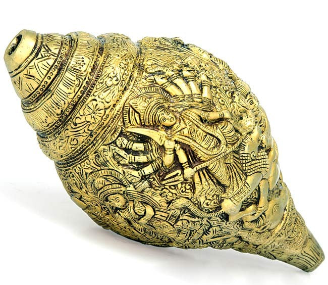 Durga Story Carving on Brass Conch