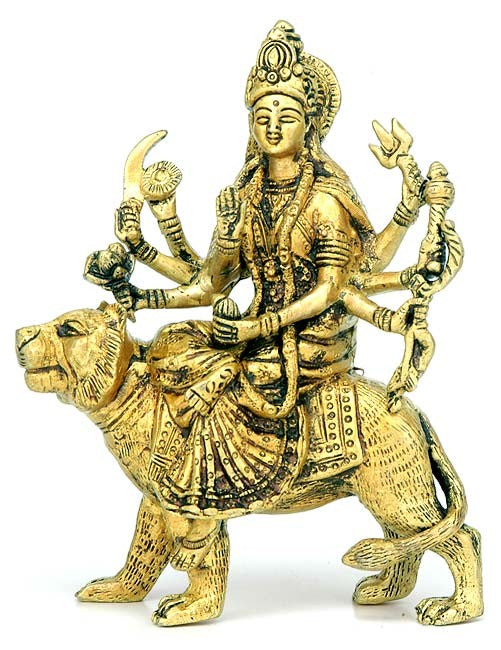 """Ma Sherawali"" Brass Sculpture"