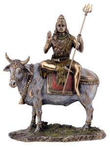 Shiva Seated on Nandi the Bull Sculpture - Cold Cast Bronze, Resin