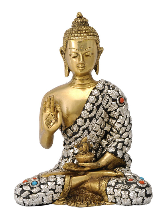 Blessing Lord Buddha Brass Statue