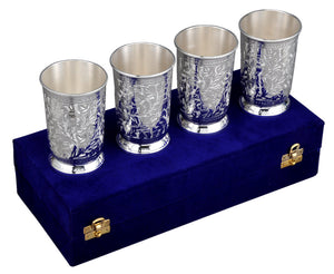 Silver Plated Metal Glasses - Set of 4 with velvet Box