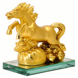 Feng Shui Golden Horse with Bag of Wealth