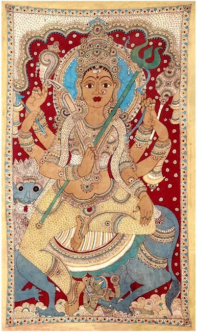 Goddess Sherawali Ma - Cotton Kalamkari Painting