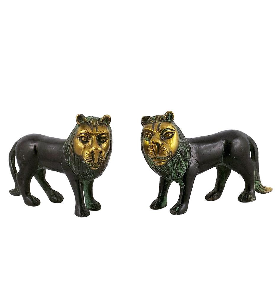Brass Lions in Black Finish Brass Statue