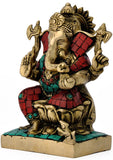 """Mangal Murti"" Lord Ganesha seated on Lotus brass Statue 4745"