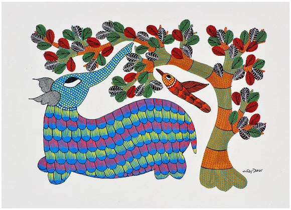 Elephant in Playful Mood - Gond Painting