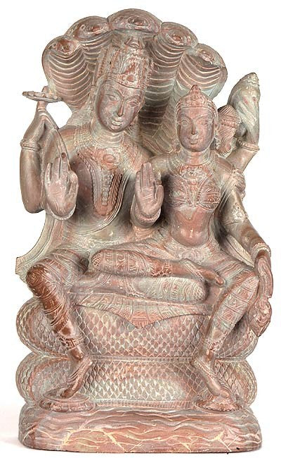 Lord Lakshmi Narain Seated on Sheshnaga - Stone Statue