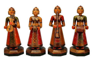 The Performers - Set of 4 Wood Statuettes