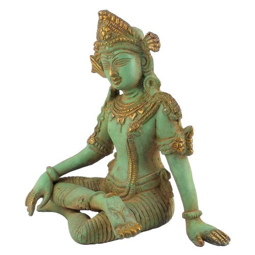 Indra Lord of of Heaven - Antique Finish Brass Statue