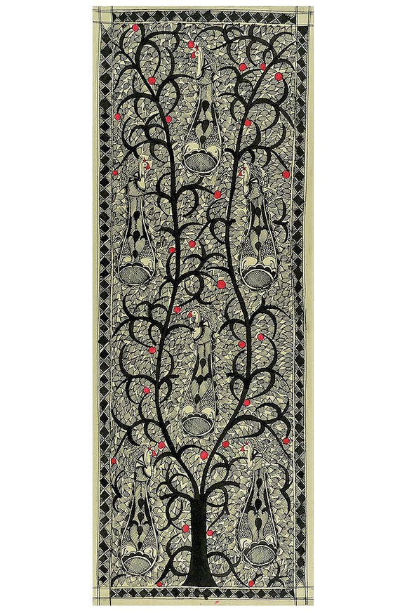 Tree of Life with Birds -Madhubani Painting