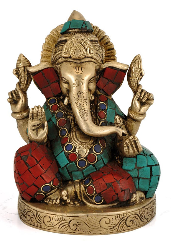 Hindu Elephant God Gajanan Statue Lord Ganesha Brass Carved Sculpture 4363