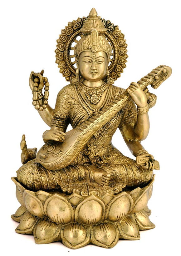 Brass Saraswati Holding Veena Seated on Lotus Throne Statue 4460