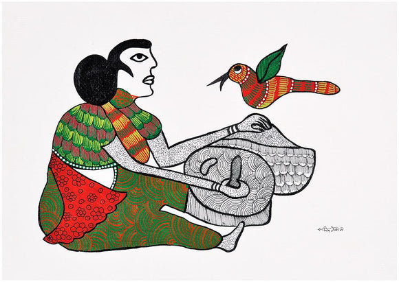 Woman Grinding Grain -Gond Painting