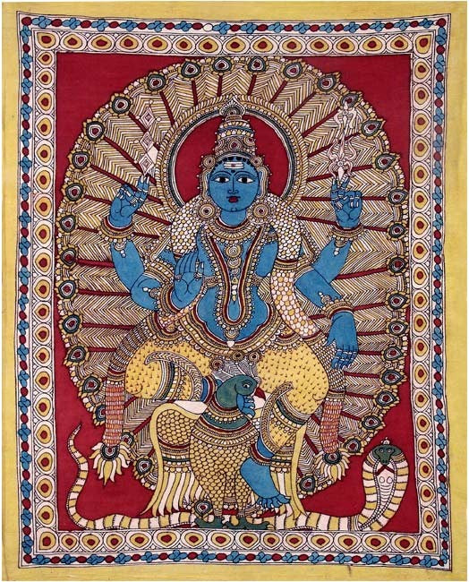 Lord Murugan (Son of Lord Shiva) Kalamkari Painting