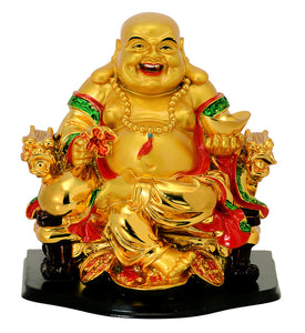Golden Finish Laughing Buddha Figurine