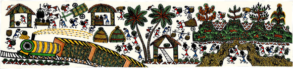Train in Village-Warli Painting