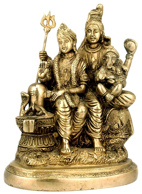 Lord Shiv with Parvati & Ganesh Brass Statue 2948B