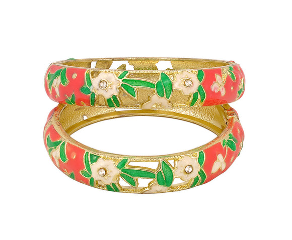 Pink and Green Color Openable Bangle Set Pair
