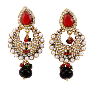 Red Dangle Drop Pearl Earrings for Women and Girls