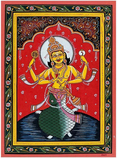 'Lord Kurma' Vishnu Dashavtar Patachitra Painting