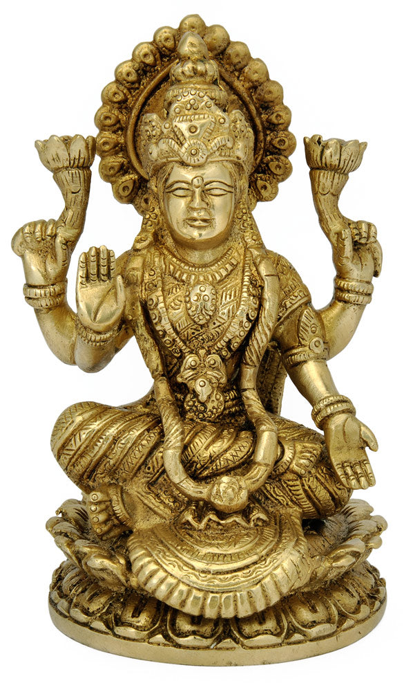 Devi Lakshmi seated on Lotus Brass Statue