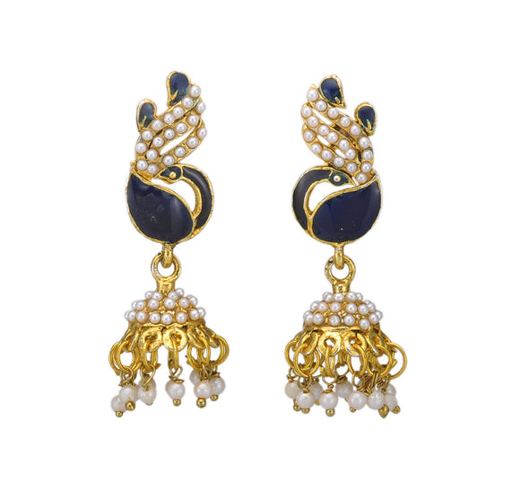 Black Enameled Peacock Jhumki Earring