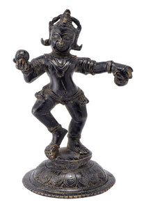 Bal Gopal Loves Ladoo Antique Finish Brass Statue