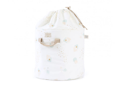 Bamboo toy bag aqua eclipse/ white - 2 sizes