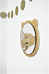 Wooden teddy mirror