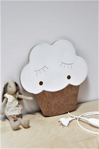 Wooden white cupcake light