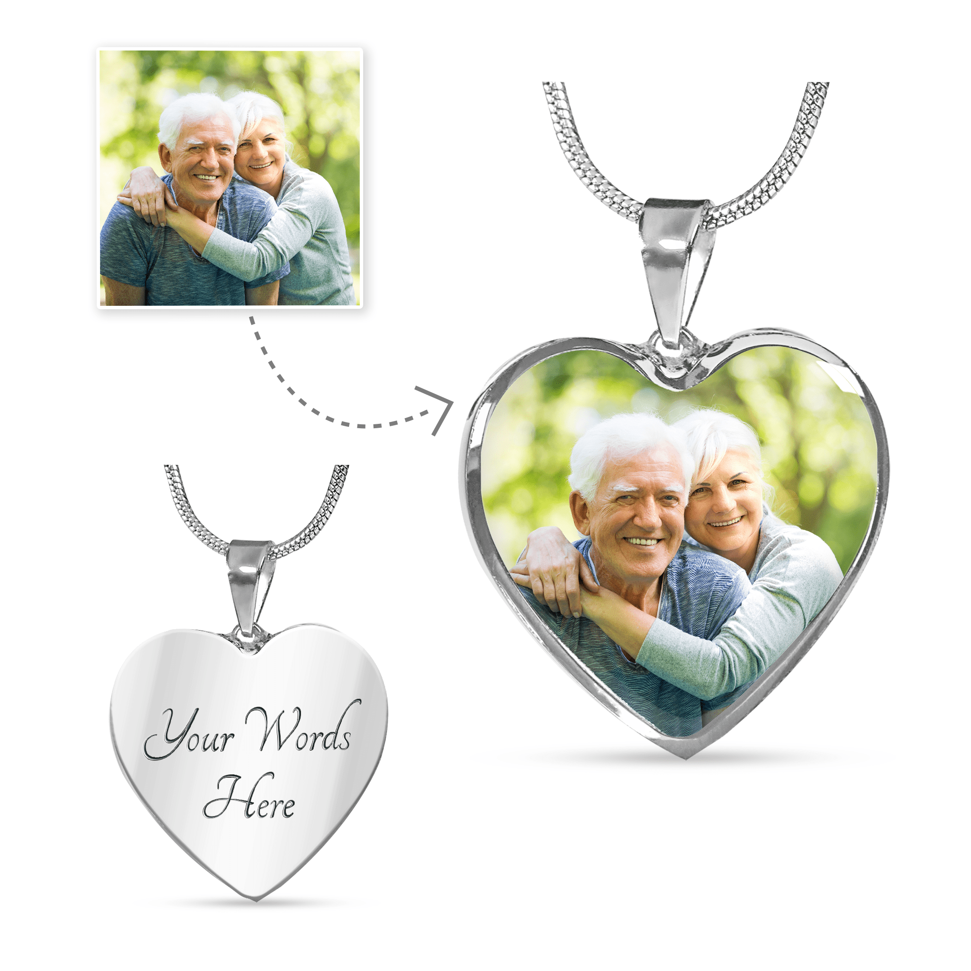"""IN MEMORY OF..."" NECKLACE  - CUSTOM PHOTO & ENGRAVING - BEST SELLING PERSONALIZED GIFT - HEART CHARM"