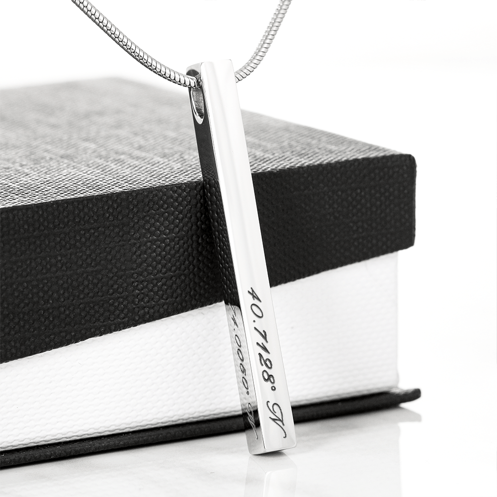 "Personalized ""Where It Began"" Coordinate Bar Necklace"