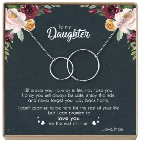 To My Daughter Interlocking Hoop Necklace - Jennifer Stone Co.