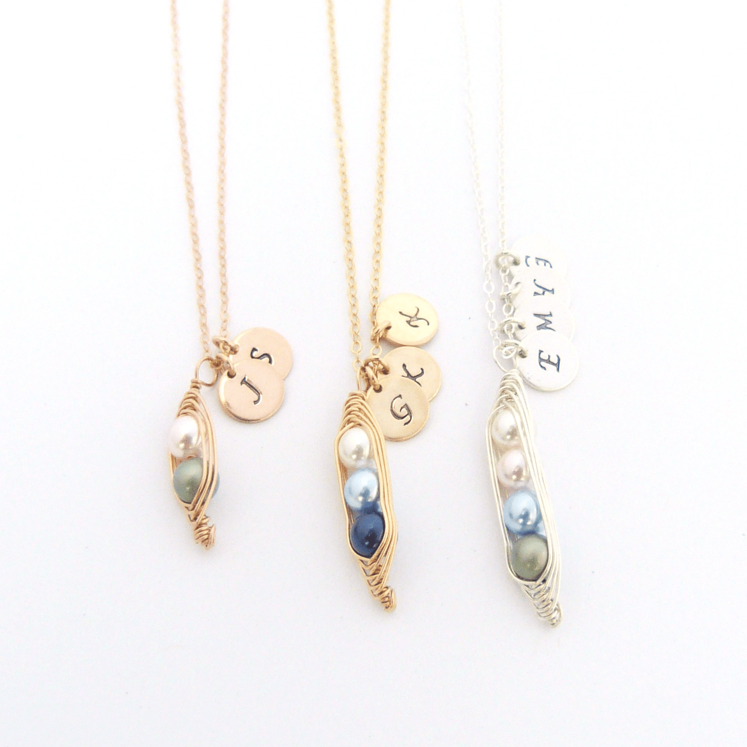 Personalized Peas In A Pod Necklace - Jennifer Stone Co.