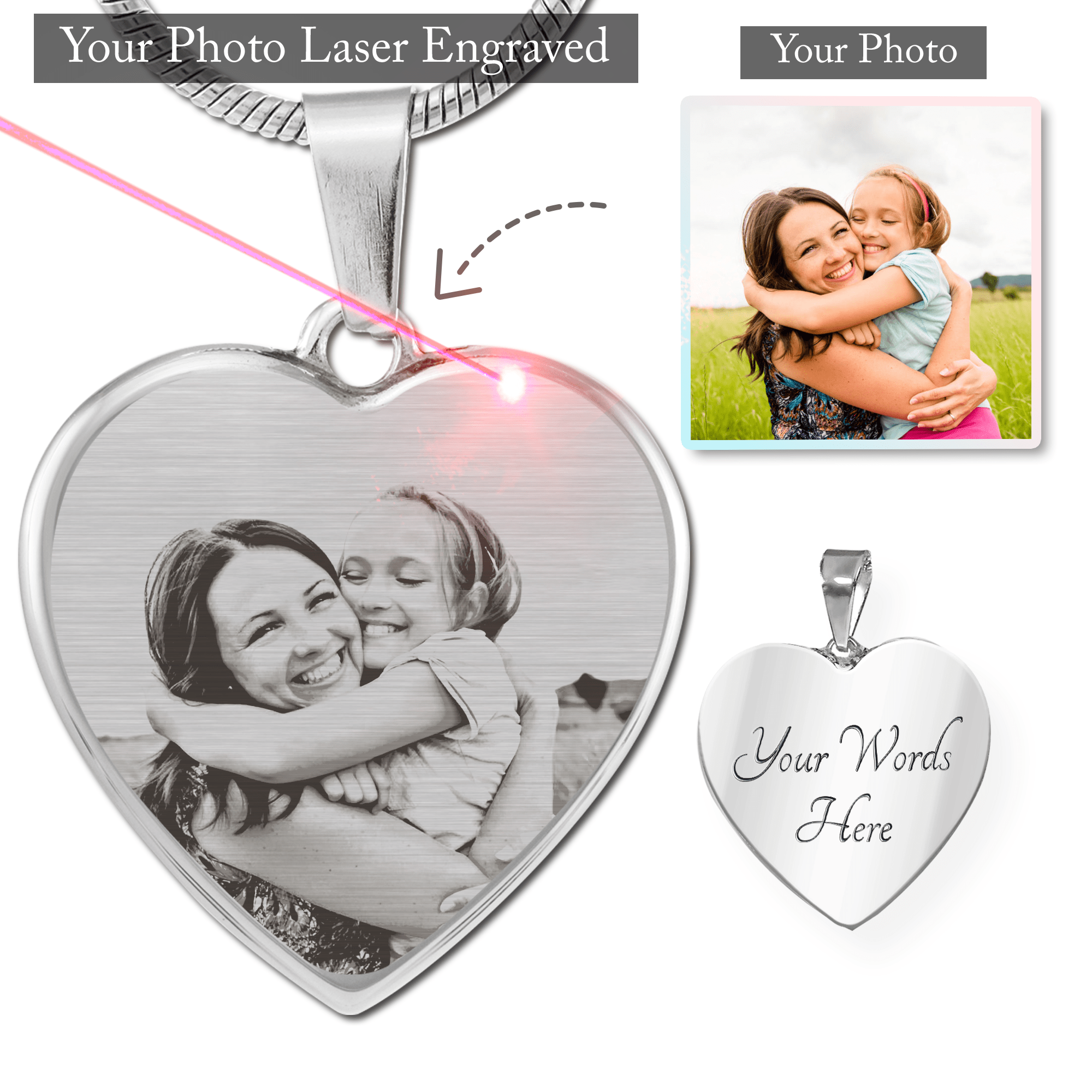 Personalized Photo Etched Necklace - Custom Photo & Engraving - Best Selling Mothers Day Gift - Heart Charm