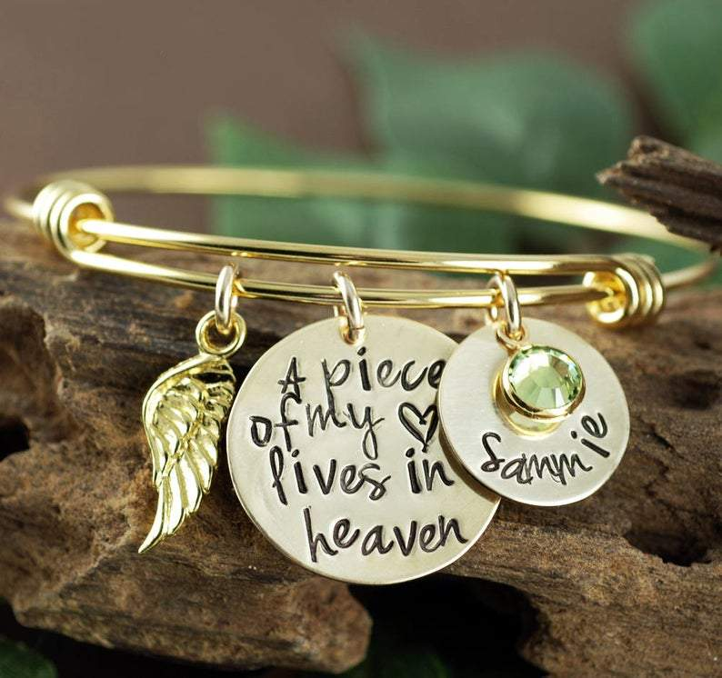 Personalized Piece of My Heart Bangle Bracelet