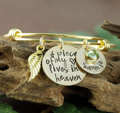 Personalized Piece of My Heart Bangle Bracelet - Jennifer Stone Co.