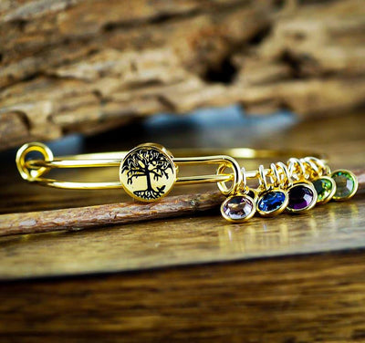 Personalized Tree of Life Charm Bracelet with Birthstones - Jennifer Stone Co.