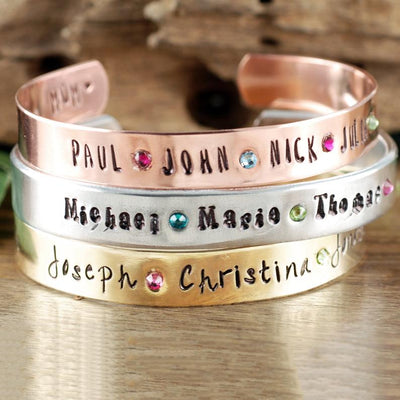 Personalized Birthstone Cuff Bangle Bracelet - Jennifer Stone Co.