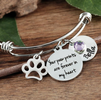 """Paw Prints Forever In My Heart"" Personalized Pet Memorial Bracelet - Jennifer Stone Co."