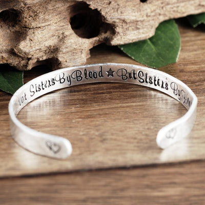 Not Sisters By Blood But Sisters By Heart Cuff Bracelet - Jennifer Stone Co.